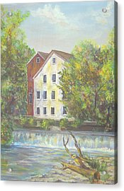 Acrylic Print featuring the painting Prallsville Mill From Waterfall by Katalin Luczay