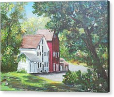 Acrylic Print featuring the painting Prallsville Mill  by Katalin Luczay