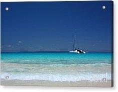 Praslin Island Catamaran Acrylic Print