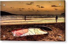 Acrylic Print featuring the photograph Prasonisi - A Day Of Windsurfing Is Over by Julis Simo