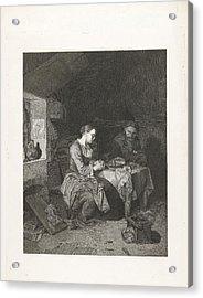 Prayer Before Meals, Bega Friedrich Wilhelm Burmeister Acrylic Print by Friedrich Wilhelm Burmeister