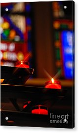Prayer Candles Trinity Cathedral Pittsburgh Acrylic Print by Amy Cicconi