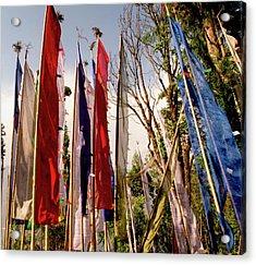 Prayer Flags At A Buddhist Monastery Acrylic Print by Jaina Mishra