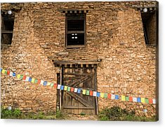 Prayer Flags In Front Of The Drukgyal Acrylic Print by Ira Block