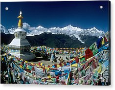 Prayer Flags In The Himalayan Mountains Acrylic Print by James Brunker