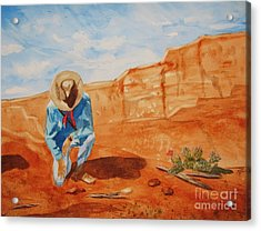 Acrylic Print featuring the painting Prayer For Earth Mother by Ellen Levinson