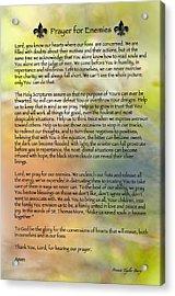 Prayer For Enemies Acrylic Print by Bonnie Barry