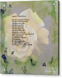Prayer Of St. Francis And Yellow Rose Acrylic Print by Barbara Griffin