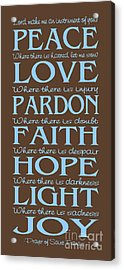 Prayer Of St Francis - Subway Style - Blue And Brown Acrylic Print