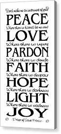 Prayer Of St Francis - Pope Francis Prayer - Subway Style Acrylic Print
