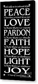Prayer Of St Francis - Subway Style - Reversed Type Acrylic Print