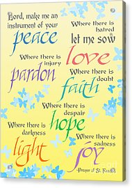 Prayer Of St Francis - Pope Francis Payer -yellow With Butterflies Acrylic Print by Ginny Gaura
