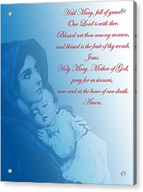 Acrylic Print featuring the digital art Prayer To Virgin Mary 2 by A Samuel