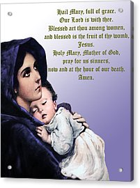 Acrylic Print featuring the digital art Prayer To Virgin Mary 3 by A Samuel