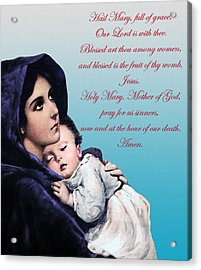 Acrylic Print featuring the digital art Prayer To Virgin Mary by A Samuel