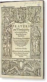 Prayers And Thanksgiving Acrylic Print