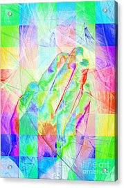 Praying Hands 20150302v1 Color Squares Acrylic Print by Wingsdomain Art and Photography