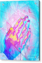 Praying Hands 20150302v1 Acrylic Print by Wingsdomain Art and Photography