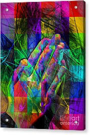 Praying Hands 20150302v2 Color Squares Acrylic Print by Wingsdomain Art and Photography