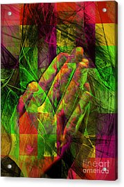 Praying Hands 20150302v2 Color Squares Ylw Acrylic Print by Wingsdomain Art and Photography