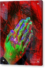 Praying Hands 20150302v2 Acrylic Print by Wingsdomain Art and Photography