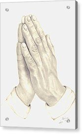 Acrylic Print featuring the drawing Praying Hands by Patricia Hiltz