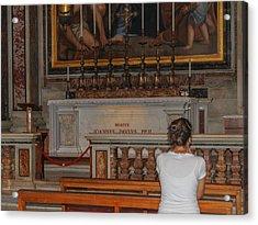 Praying To Pope John Paul II  Acrylic Print by Allan Levin
