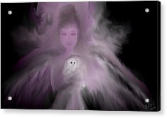 Precious Owl Angel Acrylic Print by Jessica Wright