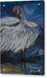 Acrylic Print featuring the painting Preening Crane by Avonelle Kelsey