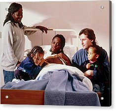 Pregnant Woman And Her Family On An Antenatal Ward Acrylic Print by Ruth Jenkinson/midirs/science Photo Library
