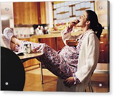 Pregnant Woman Eating Chocolate Acrylic Print by Cohen/Ostrow