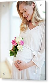 Pregnant Woman Holding Posy Of Flowers Acrylic Print by Ian Hooton/science Photo Library