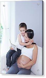 Pregnant Woman Reading To Son Acrylic Print