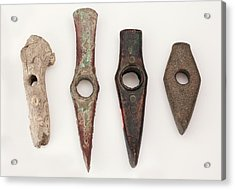 Prehistoric Axes Of Different Materials Acrylic Print by Paul D Stewart