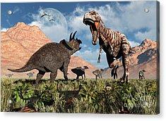 Prehistoric Battle Acrylic Print by Mark Stevenson