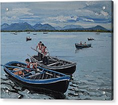 Preparing For The Currach Race Roundstone Ireland Acrylic Print