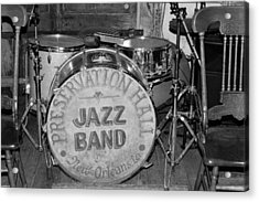 Preservation Hall Jazz Band Drum Bw Acrylic Print