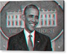 President Barack Obama In 3d Acrylic Print