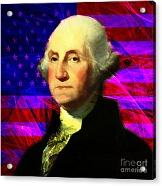President George Washington V2 M123 Square Acrylic Print by Wingsdomain Art and Photography