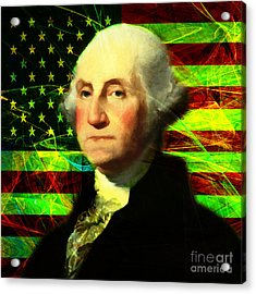 President George Washington V2 P50 Square Acrylic Print by Wingsdomain Art and Photography