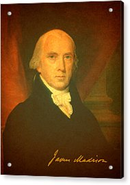 President James Madison Portrait And Signature Acrylic Print by Design Turnpike