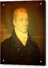 President James Monroe Portrait And Signature Acrylic Print by Design Turnpike