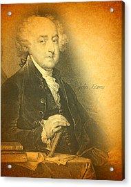 President John Adams Portrait And Signature Acrylic Print by Design Turnpike