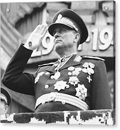 President Marshal Tito Salutes Acrylic Print by Underwood Archives