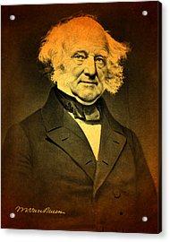President Martin Van Buren Portrait And Signature Acrylic Print by Design Turnpike