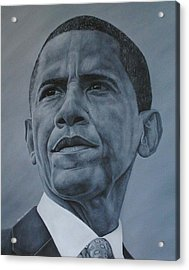 Acrylic Print featuring the painting President Obama by David Dunne
