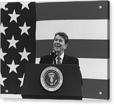 President Reagan American Flag  Acrylic Print by War Is Hell Store