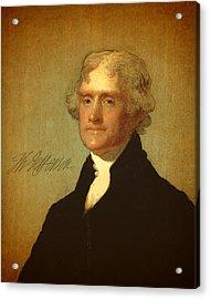 President Thomas Jefferson Portrait And Signature Acrylic Print by Design Turnpike