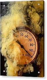 Pressure Gauge With Smoke Acrylic Print by Garry Gay