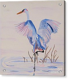 Acrylic Print featuring the painting Pretty Crane by Phyllis Kaltenbach